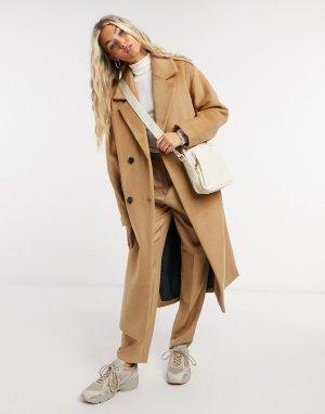 Бежевое двубортное пальто из шерсти с разрезами по бокам Femme-Светло-коричневый Selected