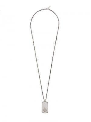 Колье с подвеской Nialaya Jewelry. Цвет: серый