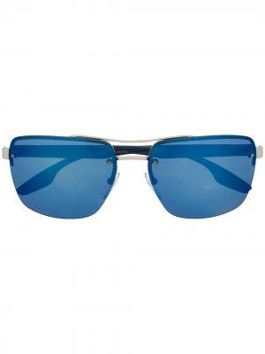 Солнцезащитные очки в квадратной оправе Prada Eyewear. Цвет: синий