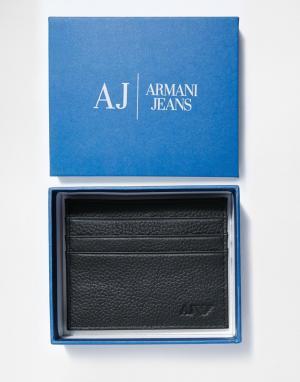 Кожаная визитница Armani Jeans. Цвет: черный