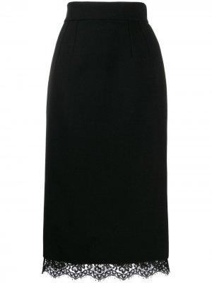 Юбка миди с кружевным подолом Dolce & Gabbana. Цвет: черный