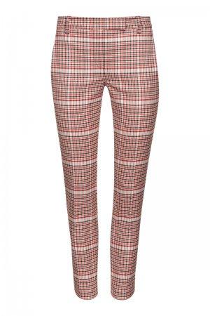 Зауженные брюки в клетку VASSA&Co. Цвет: красный