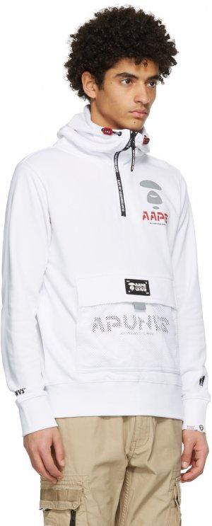 White Logo Half-Zip Hoodie AAPE by A Bathing Ape. Цвет: white