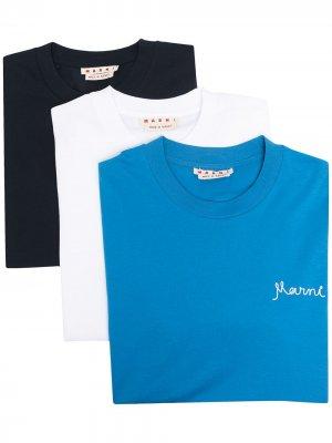 Набор из трех футболок с вышитым логотипом Marni. Цвет: синий