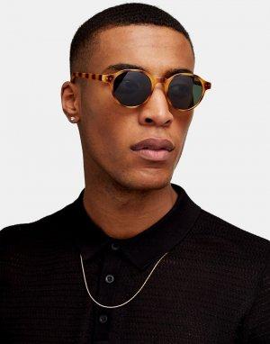Круглые солнцезащитные очки в коричневой оправе с тигровой расцветкой -Коричневый цвет Topman