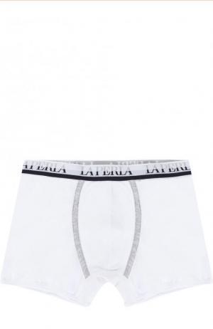 Хлопковые боксеры с логотипом бренда La Perla. Цвет: белый