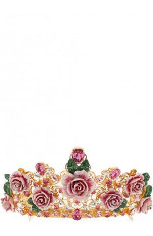 Диадема с декором в виде цветов и кристаллами Swarovski Dolce & Gabbana. Цвет: золотой