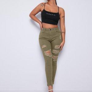 Рваные джинсы скинни на молнии SHEIN. Цвет: хаки
