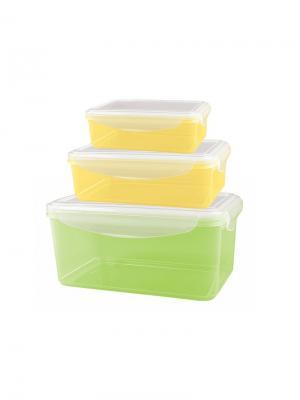 Набор контейнеров для холодильника и микроволновой печи smart lock 0.5л+1.1л+1,6л, зеленый+оранжев Бытпласт.. Цвет: зеленый, желтый