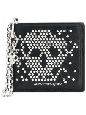 Бумажник Studded Skull Chain Alexander McQueen. Цвет: чёрный