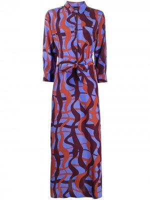 Платье макси с абстрактным принтом Aspesi. Цвет: синий