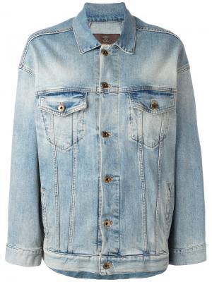 Джинсовая куртка со звездой на спине Roberto Cavalli. Цвет: синий