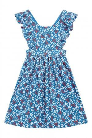 Синий сарафан с оборками Bonpoint. Цвет: multicolor