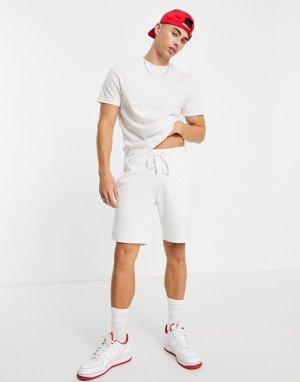 Белый меланжевый трикотажный костюм с футболкой и шортами облегающего кроя ASOS DESIGN