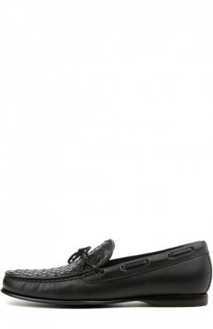Кожаные топсайдеры Bottega Veneta. Цвет: чёрный