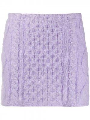 Юбка мини фактурной вязки Laneus. Цвет: фиолетовый