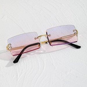 Мужские солнцезащитные очки с прямоугольными линзами без оправы SHEIN. Цвет: многоцветный