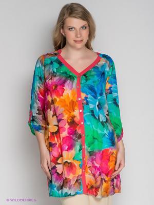 Блузка ARDATEX. Цвет: коралловый, зеленый, оранжевый