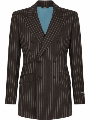 Двубортный пиджак в тонкую полоску Dolce & Gabbana. Цвет: серый