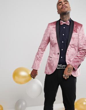 Бархатный приталенный блейзер -Розовый Noose & Monkey