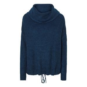 Пуловер свободного покроя с отворачивающимся воротником из тонкого трикотажа VERO MODA. Цвет: светло-серый меланж,сине-зеленый