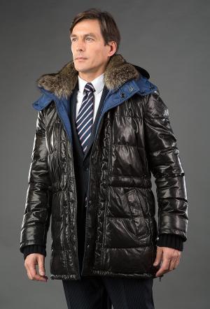 Мужской кожаный пуховик черный с синей подкладкой AFG. Цвет: черный