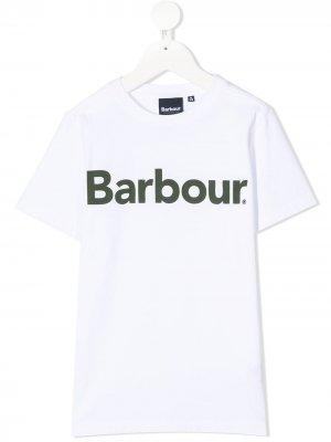 Футболка с короткими рукавами и логотипом Barbour Kids. Цвет: белый