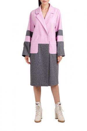 Пальто Милан DElize by Vasilyeva D'Elize. Цвет: розовый, серый