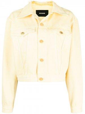 Джинсовая куртка с нашивкой-логотипом We11done. Цвет: желтый