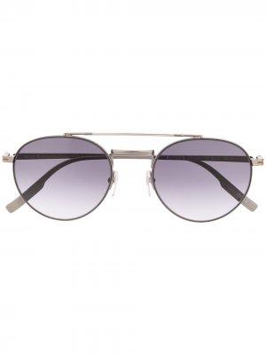 Солнцезащитные очки-авиаторы Ermenegildo Zegna. Цвет: серебристый