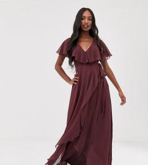 Платье макси с накидкой и асимметричным краем ASOS DESIGN Tall-Фиолетовый Tall