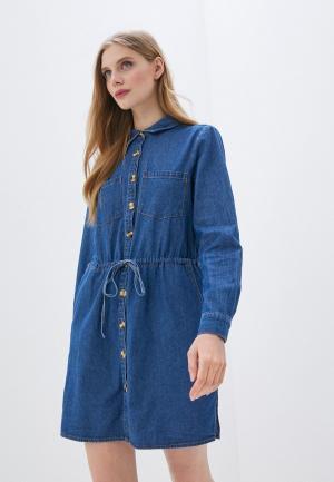 Платье джинсовое Brave Soul. Цвет: синий