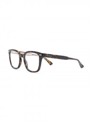 Square shaped glasses Gucci Eyewear. Цвет: коричневый