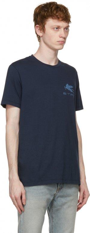 Navy Logo Regular T-Shirt Etro. Цвет: 0200 blu