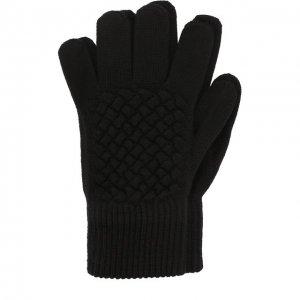 Шерстяные перчатки фактурной вязки Bottega Veneta. Цвет: чёрный