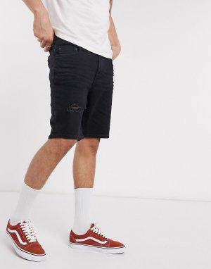 Черные рваные джинсовые шорты скинни -Черный Bershka