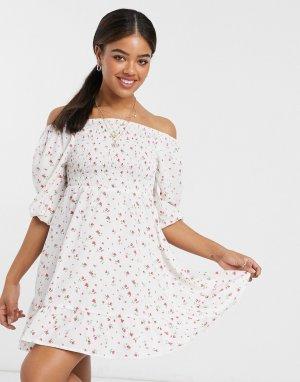 Пляжное платье со сборками спереди Amnol-Многоцветный Anmol