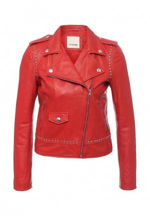 Куртка кожаная Pinko. Цвет: красный