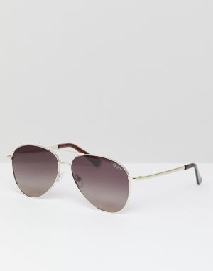 Солнцезащитные очки-авиаторы в золотистой оправе -Золотой Quay Australia