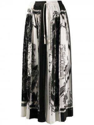 Плиссированная юбка миди с принтом Salvatore Ferragamo. Цвет: черный