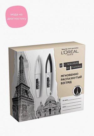 Набор для макияжа глаз LOreal Paris L'Oreal Тушь ресниц Взгляд Бэмби эффект накладных ресниц, черная + экстрачерная, 18х18 мл. Цвет: черный