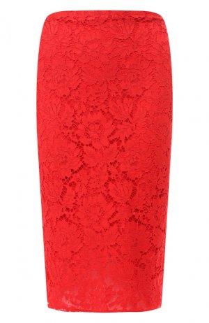 Кружевная юбка-миди Valentino. Цвет: красный