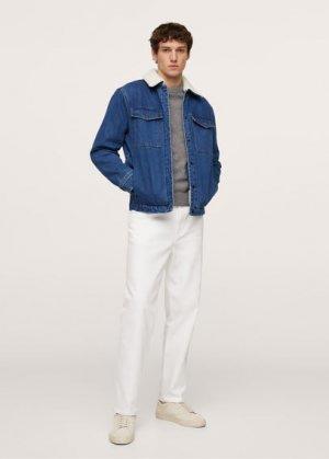 Джинсовая куртка с искусственной овчиной - Waspy-i Mango. Цвет: темно-синий