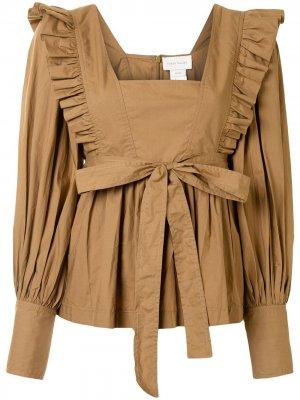 Блузка Chestnut с оборками Karen Walker. Цвет: коричневый