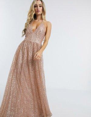 Платье макси на бретелях с блестками -Розовый цвет Goddiva