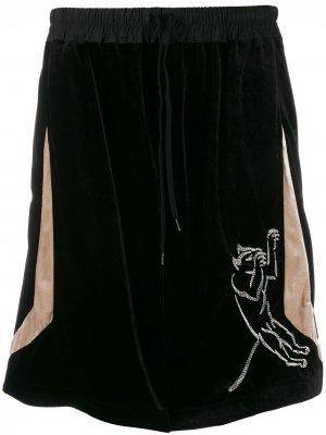 Бархатные шорты Bernhard Willhelm. Цвет: черный