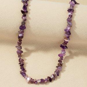 Ожерелье из бусин SHEIN. Цвет: пурпурный