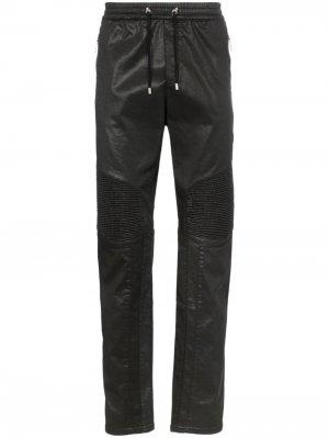 Спортивные брюки с кулиской и отделкой в рубчик Balmain. Цвет: черный