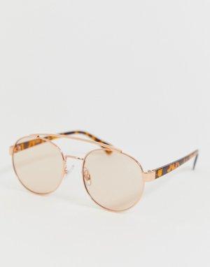 Солнцезащитные очки-авиаторы (золотистый/розовый) AJ Morgan. Цвет: золотой