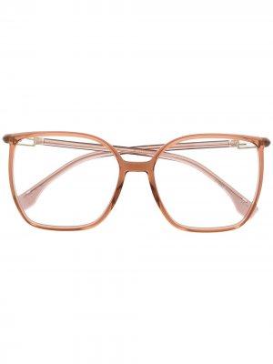 Очки в прямоугольной оправе Fendi Eyewear. Цвет: розовый